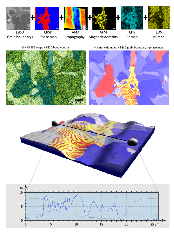 EBSD combined with AFM and EDS images and maps