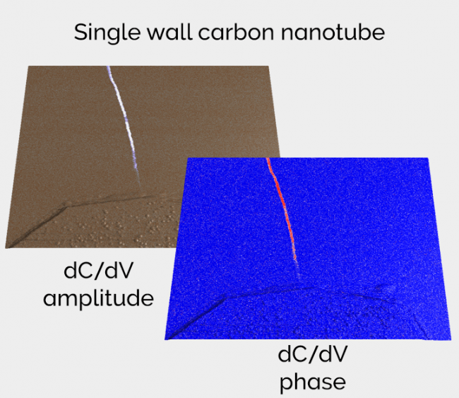 Scanning Capacitance Microscopy (SCM) of SRAM (Static RAM) single wall carbon nanotube dC/dV amplitude and phase AFM imaging