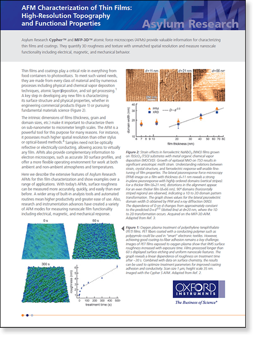 application note about the many properties of thin films and coatings that can be measured with atomic force microscopy