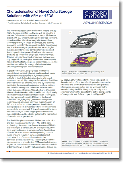PDF Preview of Multiferroic Data Storage Characterisation with AFM and EDS application note