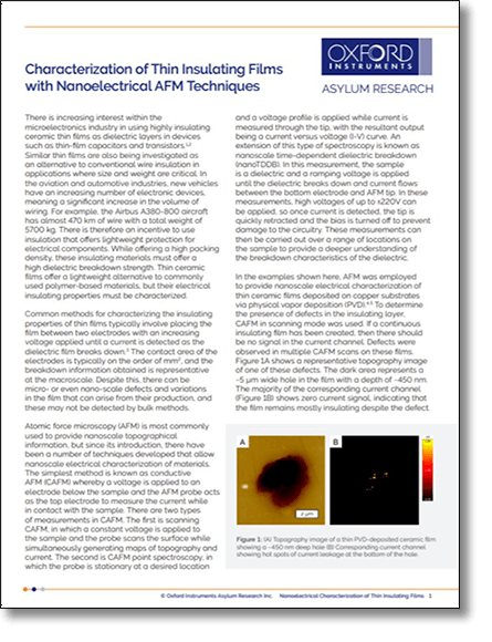 First Page of Preview of Nanoelectrical Characterization of Thin Insulating Films with AFM PDF